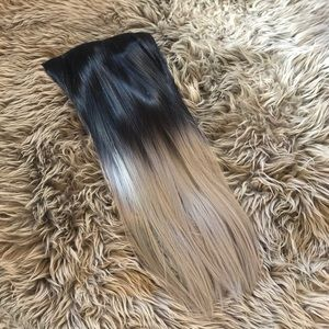 Accessories - Black/brown to silver clip in hair extensions